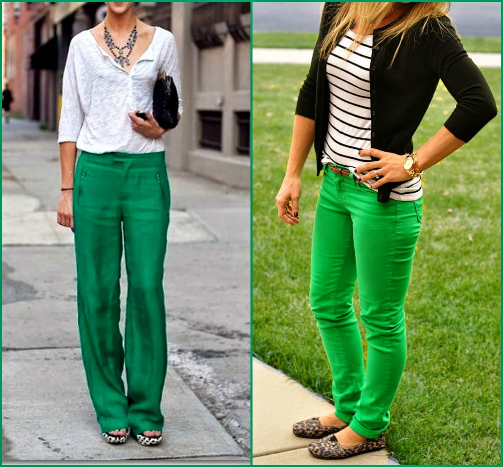 Black and white with Green pants, how to wear green pants, black and white styles