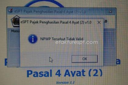 Solusi eSPT PPh 4 Ayat 2 NPWP Tidak Valid