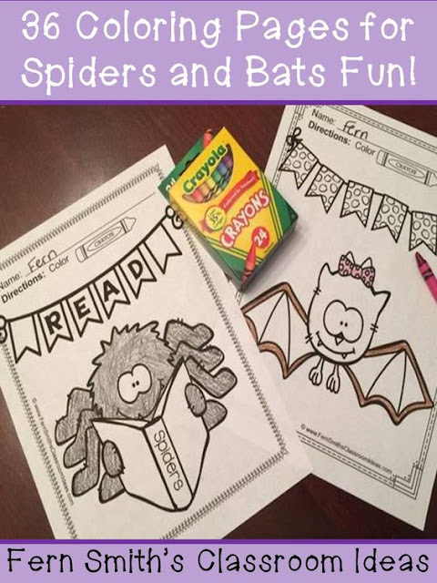 Color For Fun - Bats and Spider - Coloring Pages!