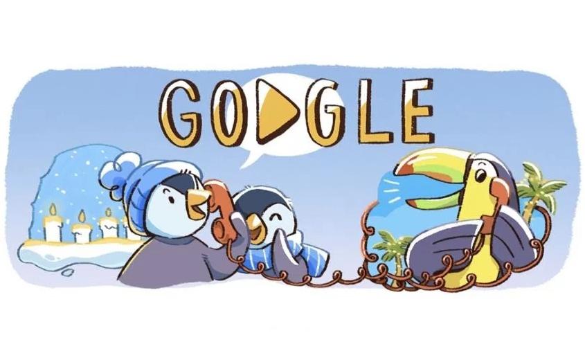 Buone Feste con il Doodle Google per le festività natalizie