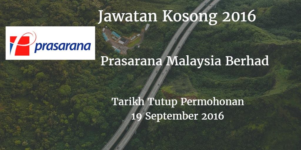 Jawatan Kosong Prasarana Malaysia Berhad 19 September 2016