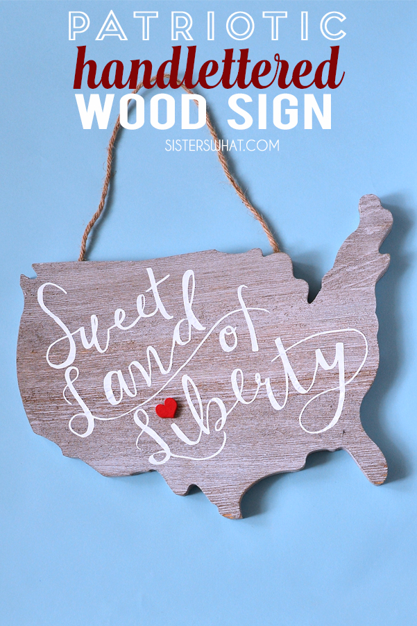 DIY Patriotic Hand lettered Wood Sign on USA Silhouette using Silhouette cutting machine and heat transfer vinyl