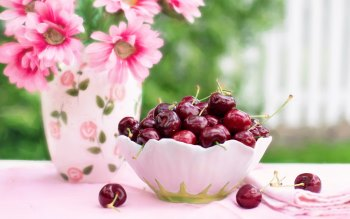 Wallpaper: Cherries in a bowl