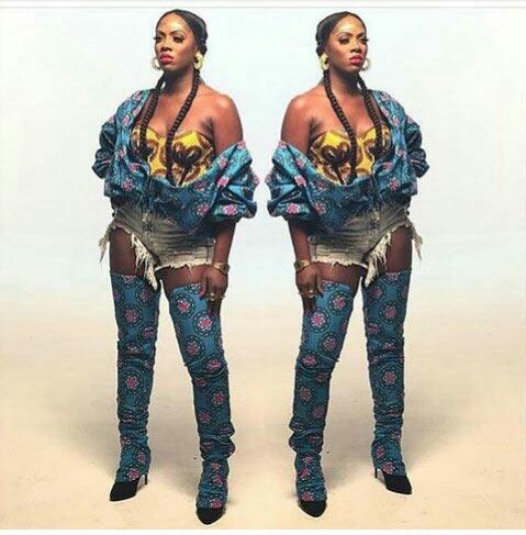 Sexy or trashy? Tiwa Savage in ankara ensemble