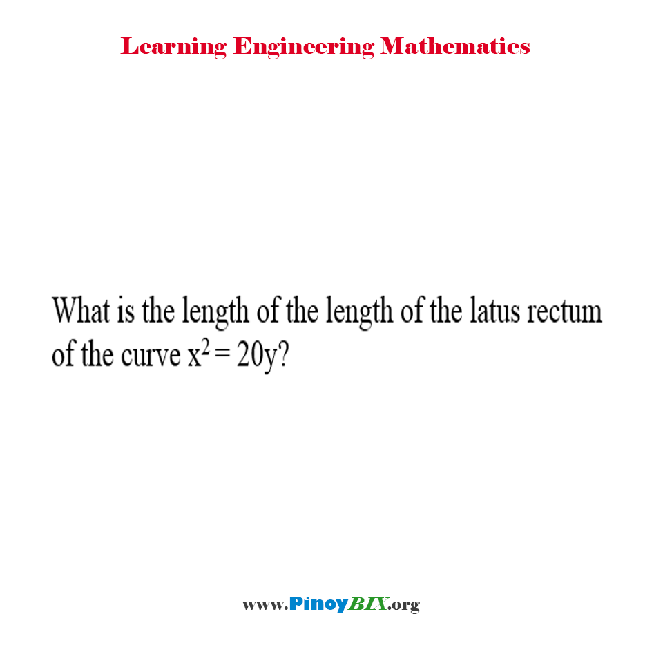 What is the length of the latus rectum of the curve x^2 = 20y?