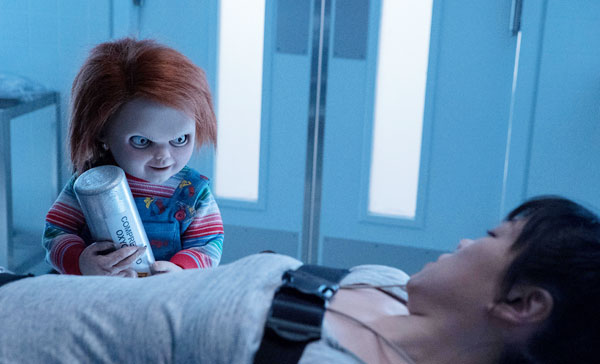 Chucky (voiced by Brad Dourif) returns to prey on his victim in CULT OF CHUCKY (2017)