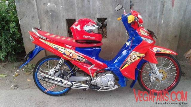 Vega ZR Modif Thailook Merah Biru Ban Kecil