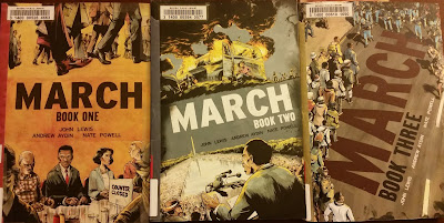 Book covers for March by John Robert Lewis Volumes 1-3