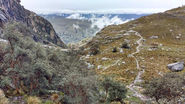 vistas, camino, laguna, trekking, nevado churup, churupita