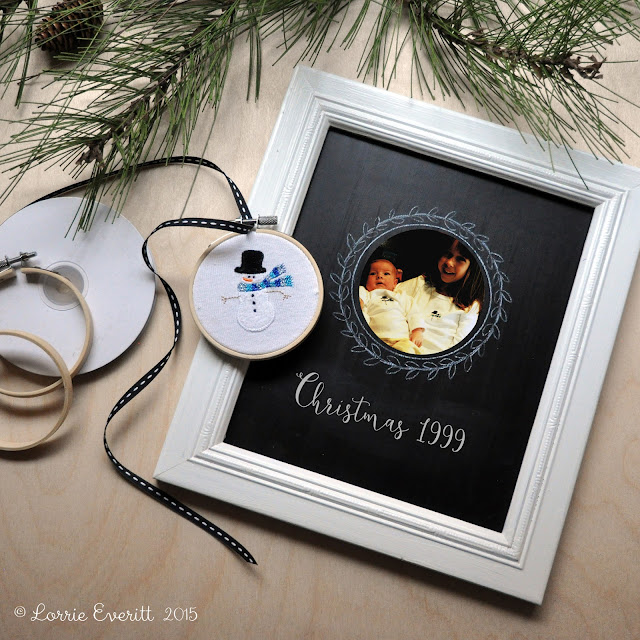 15 minute mini embroidery hoop ornaments using upcycled materials | Lorrie Everitt Studio
