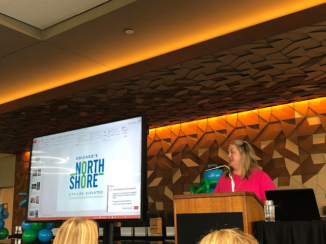 Holly Allgauer-Cyr welcoming us to the luncheon with opening remarks at Chicago North Shore's Annual Tourism Luncheon