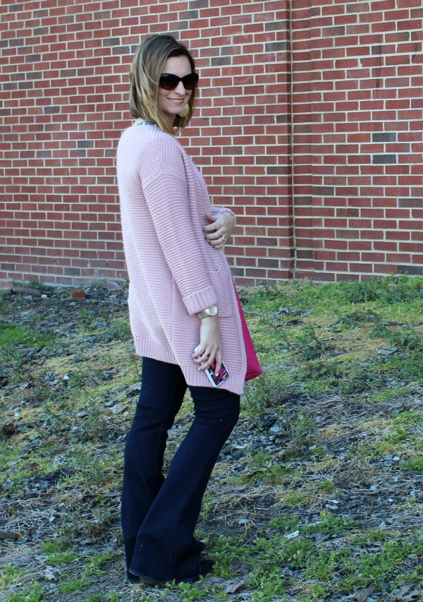 blush pink cardigan, how to wear jeans to work