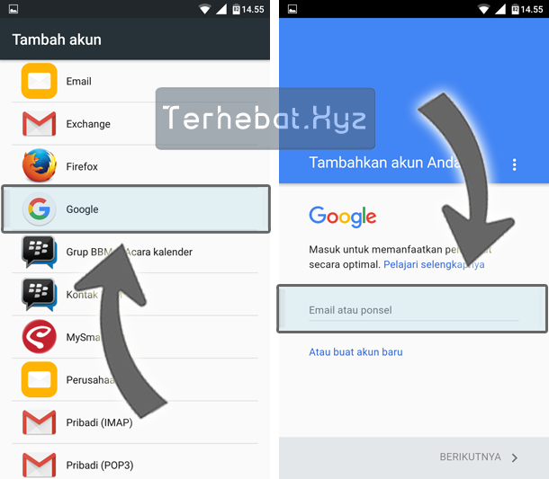 cara sign in akun google di android