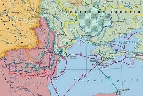 Карта военных действий в Крымской войне