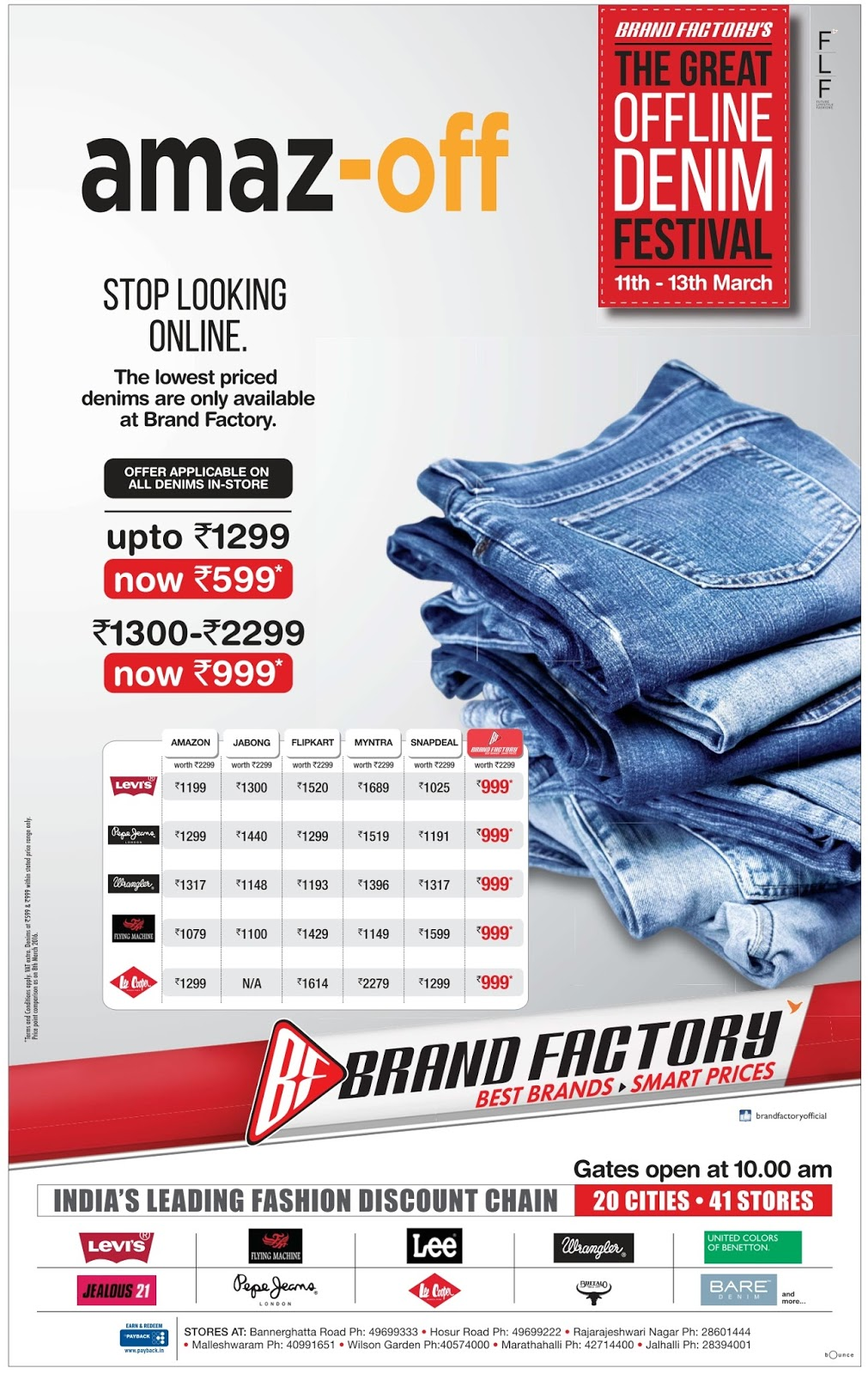 The Great offline Denim Festival @Brandfactory | March 2016 discount offers