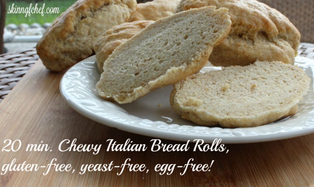 Make this chewy Yeast-Free and Gluten-Free Italian Bread in only 20 minutes. Perfect for sandwiches or Crostini