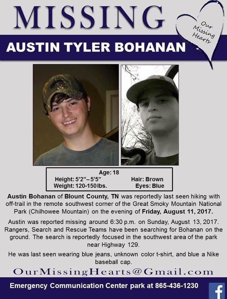 Smoky Mountain Post Austin Bohanan\u0027s mother speaks out on Facebook - missing person posters