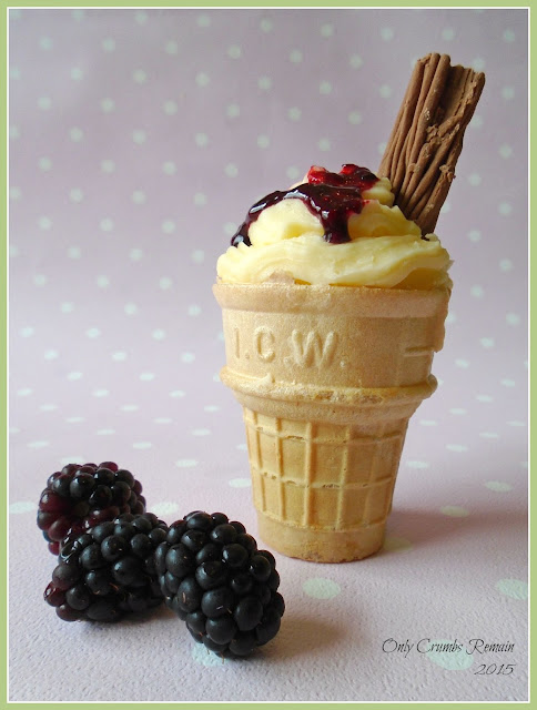'99' Ice-cream cupcake with blackberries