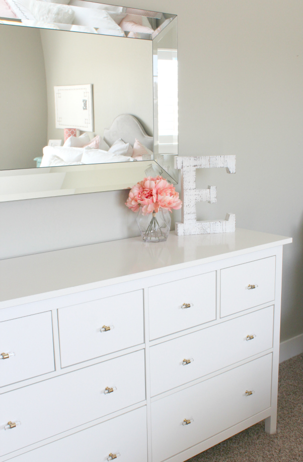 ... Coral Color In The Bedding And Added A Vase Full Of Pink Florals We  Found At Home Goods, A Modern Coral Colored Lamp From Hobby Lobby, And A  Colorful ...