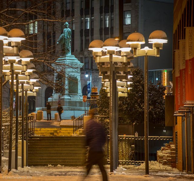 Portland, Maine USA December 2016 photo by Corey Templeton. Looking up Monument Way towards the Square and the Our Lady of Victories statue (The Portland Sailors and Soldiers Monument).