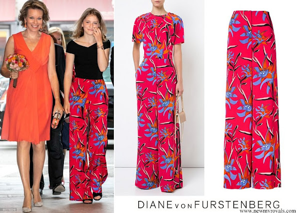 Crown Princess Elisabeth wore DIANE VON FURSTENBERG wide leg floral trousers