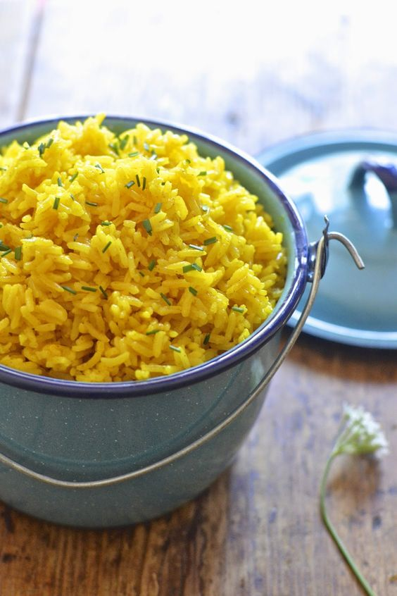 This easy yellow rice is flavored with turmeric and is ready in under 20 minutes.#yellowrice #recipe