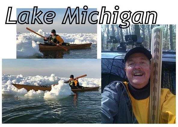 John paddling in Lake Michigan with a Greenland kayak paddle (Rosario model) from NorthPoint Paddles