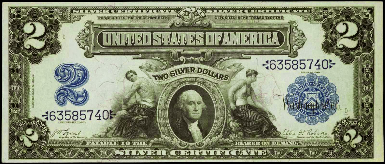 United States Paper Money 2 Dollar Silver Certificate 1899 George Washington