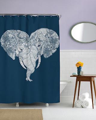 Diseño de cortina y elefantes.