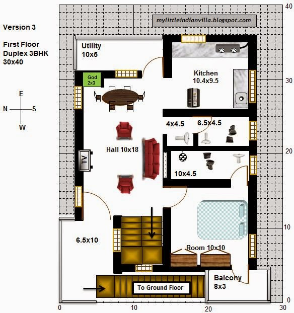 my little indian villa 16 r9 2bhk in 30x40 west facing
