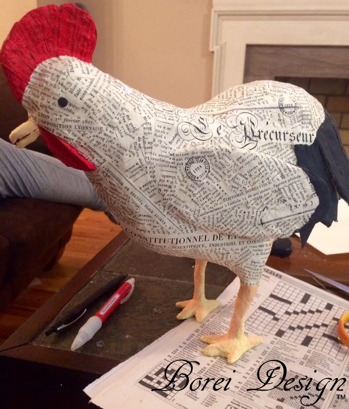 French farmhouse paper mache rooster or chicken tutorial for What to make out of paper mache