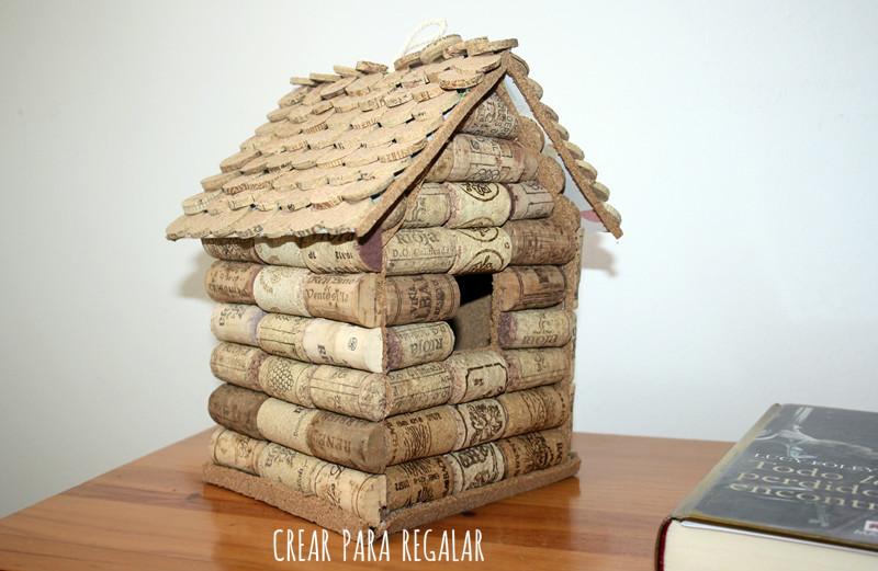 diy casa pajaros reciclar tapones de corcho