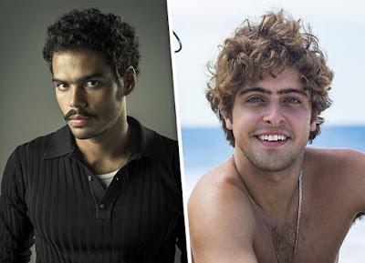 Enzo Romani caracterizado como Renato e Eike Duarte em ensaio para o Gshow! — Foto: Globo divulgação e Artur Meninea / Gshow