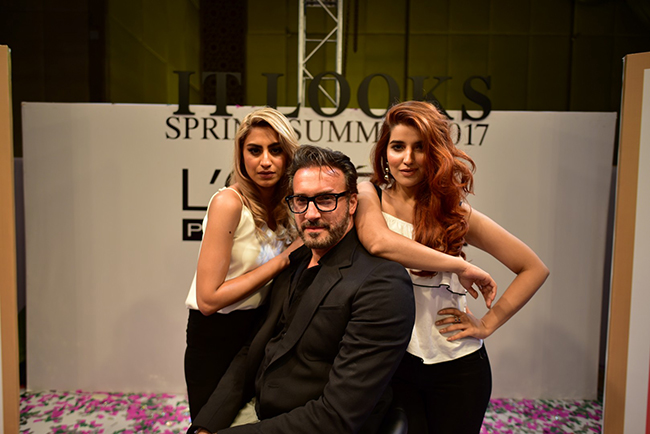 IT Girl Rehmat Ajmal, International Techinal Consultant Tarek Rizk and L'Oreal Professionnel Local Spokesperson Hareem Farooq