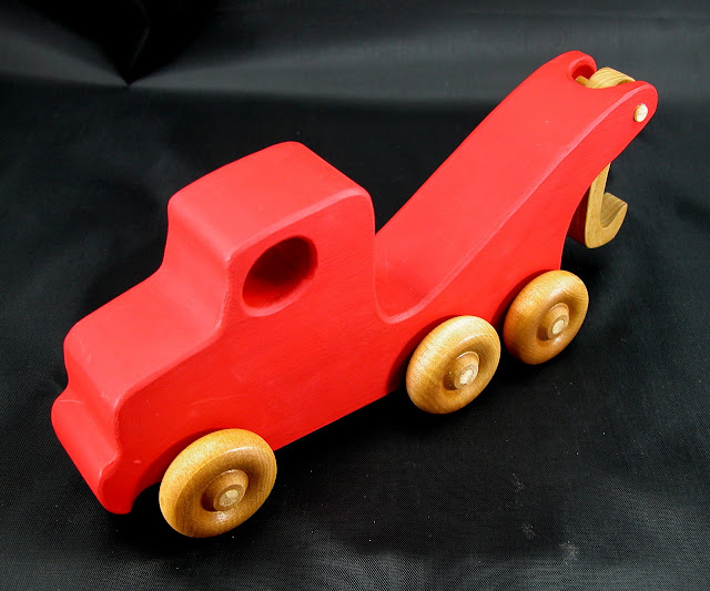 Handmade Wooden Toy Tow Truck From The Quick N Easy 5 Truck Fleet - Red Version - Top Front Right View