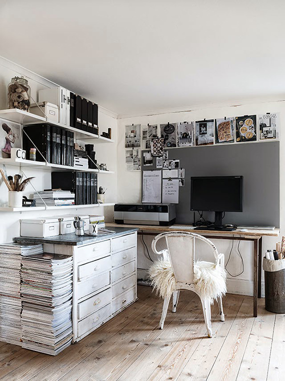 scandinavian and vintage style black and white work space