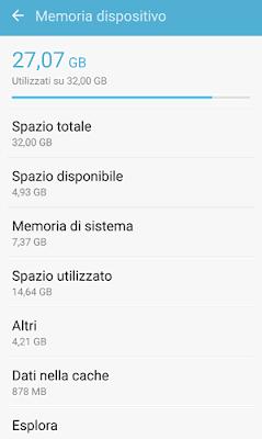 quanto spazio hai sul telefonino Android