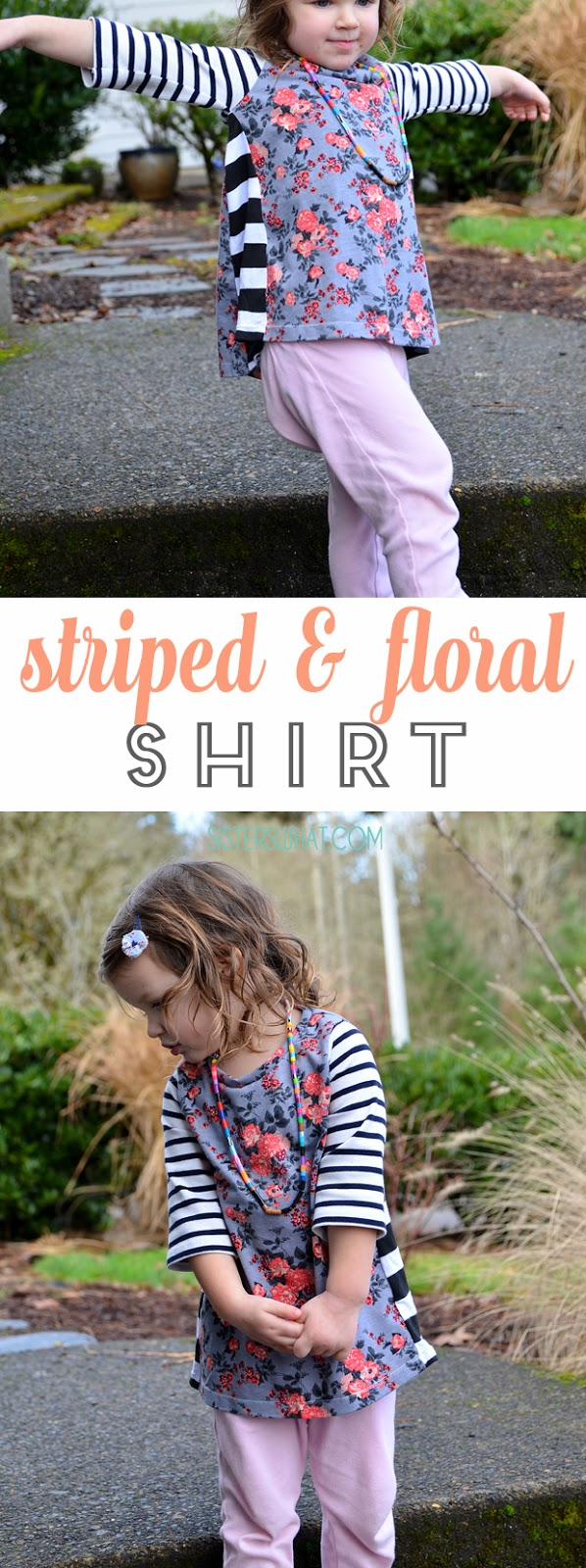 striped shirt and floral shirts!! such an easy shirt refashion! simply cut off an old shirt sleeves and add new sleeves with a different pattern fabric!!
