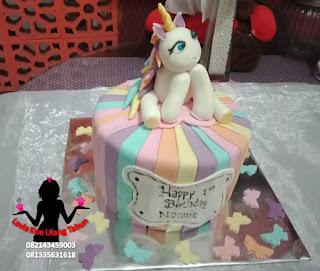 kue tart unicorn rainbow  untuk ulang tahun anak perempuan