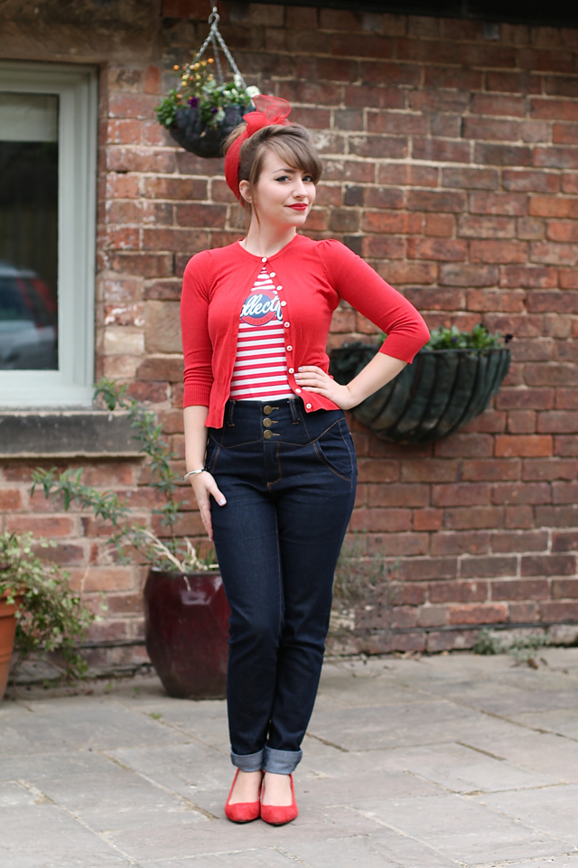 Collectif stripe t-shirt with Rebel Kate Jeans