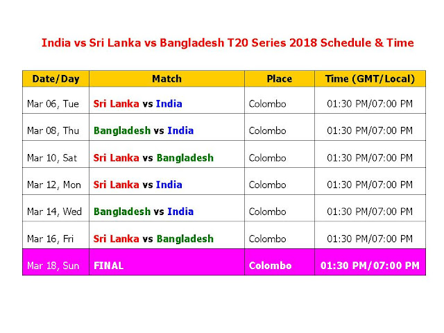 India vs Sri Lanka vs Bangladesh T20 Series 2018 Schedule & Time Table, India and Bangladesh in Sri Lanka T20I Tri-Series 2018, India vs sri lanka t20 series 2018 schedule & time table, India vs Bangladesh t20 series 2018 time table, sri lanka vs India, Bangladesh vs India, t20 series time table, cricket schedule, icc 2018 calendar, local time, Indian time, odi match, India cricket schedule, t20 cricket schedule, 2018 cricket calendar, India tour of sri lanka 2018, Bangladesh tour of sri lanka 2018,  India and Bangladesh in Sri Lanka T20I Tri-Series, 2018 7 T20s start from Mar 06/2018 to Mar 18/2018