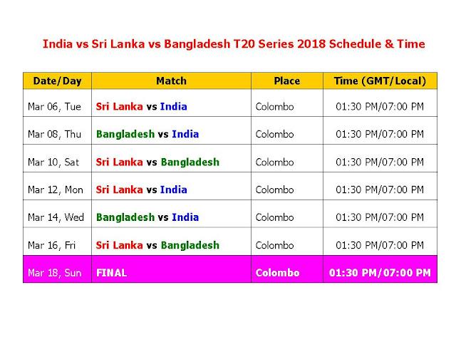 India vs Sri Lanka vs Bangladesh T20 Series 2018 Schedule & Time Table, India and Bangladesh in Sri Lanka T20I Tri-Series 2018, India vs sri lanka t20 series 2018 schedule & time table, India vs Bangladesh t20 series 2018 time table, sri lanka vs India, Bangladesh vs India, t20 series time table, cricket schedule, icc 2018 calendar, local time, Indian time, odi match, India cricket schedule, t20 cricket schedule, 2018 cricket calendar, India tour of sri lanka 2018, Bangladesh tour of sri lanka 2018,  India and Bangladesh in Sri Lanka T20I Tri-Series, 2018 7 T20s start from Mar 06/2018 to Mar 18/2018