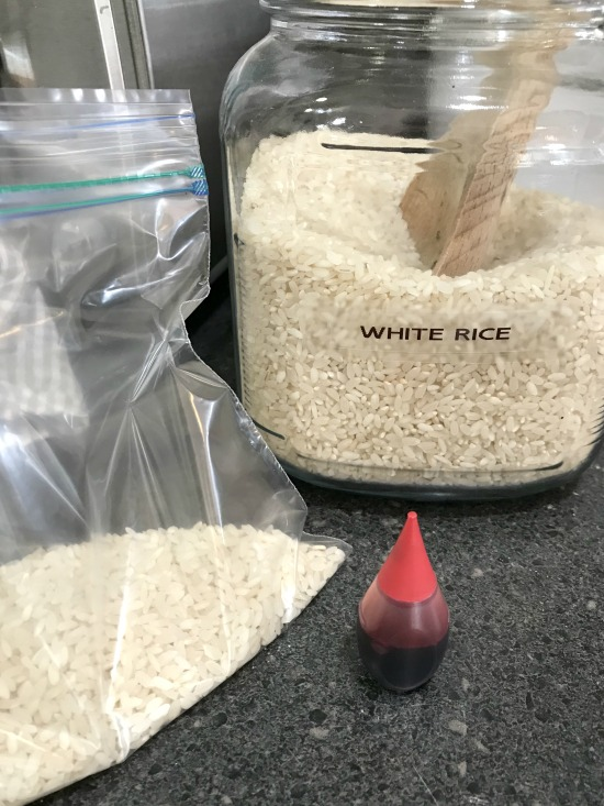 Bag of white rice and a jar of rice