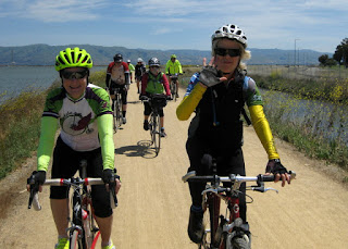 Smiling cyclists on the Bay Trail, Sunnyvale, California