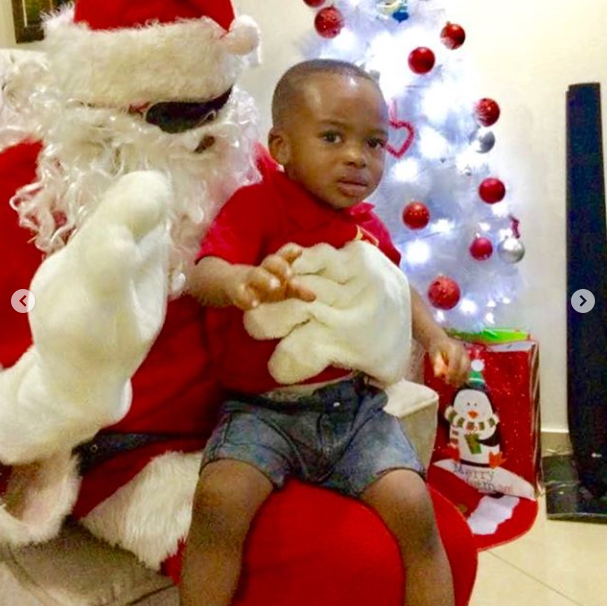 Tonto Dikeh's Son Looked Scared As Santa Clause Paid Them A Visit