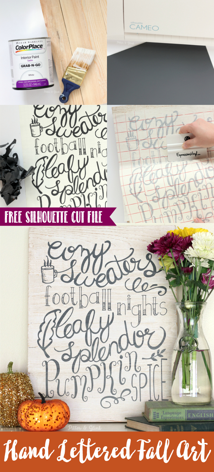 Fall Wall Art Hand Lettered DIY Free Cut File