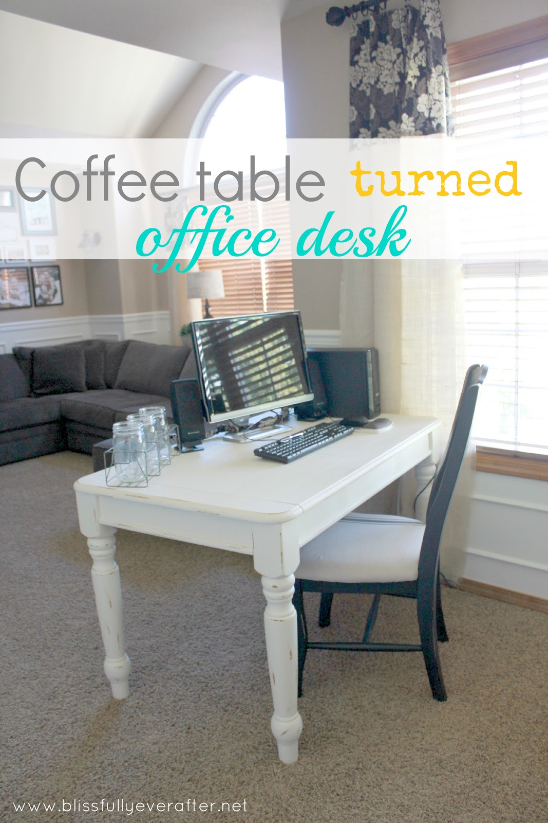 DIY Desk {coffee table turned office desk} - Blissfully ...