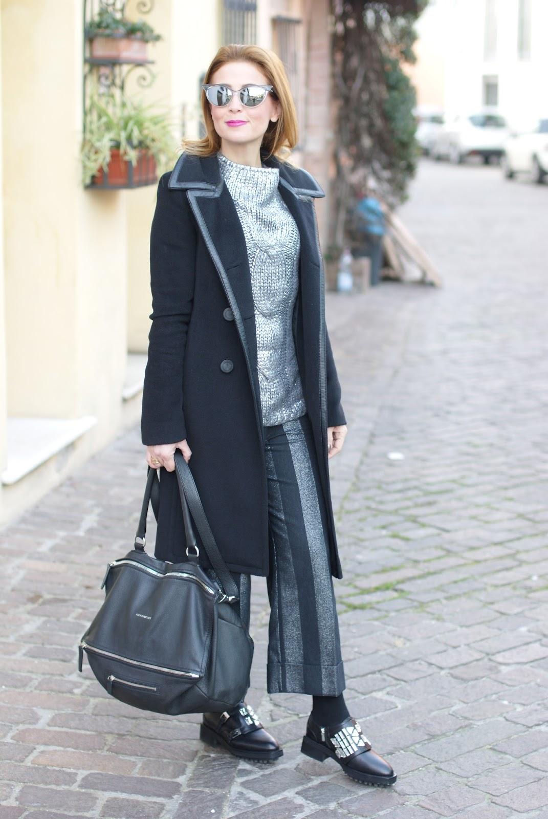 Balenciaga black coat with leather trim and Givenchy Pandora large on Fashion and Cookies fashion blog, fashion blogger style