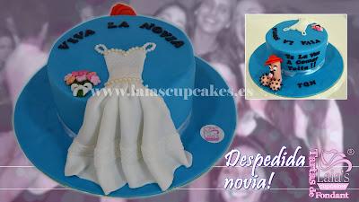 tarta personalizada fondant despedida de soltera novia amigas vestido pollita laia's cupcakes puerto sagunto