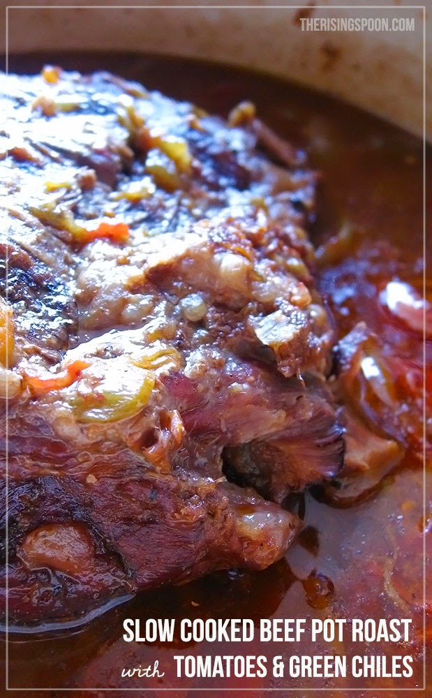 Slow Cooked Beef Pot Roast with Tomatoes and Green Chiles | therisingspoon.com